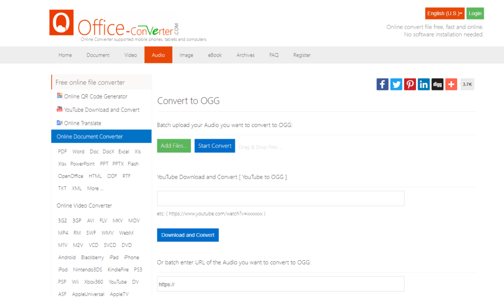 office youtube ogg converter