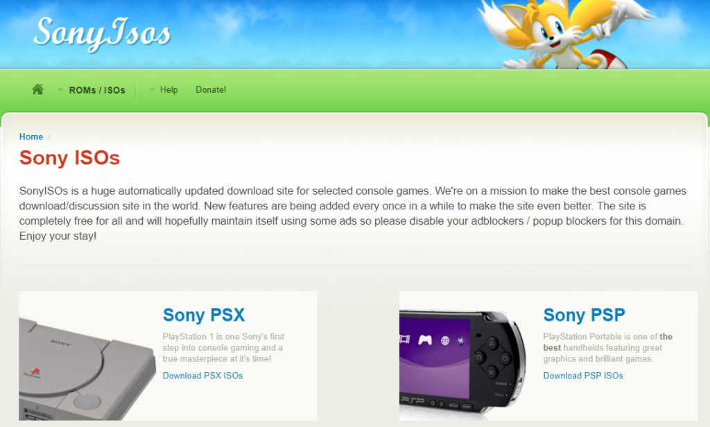 SonyISOs website